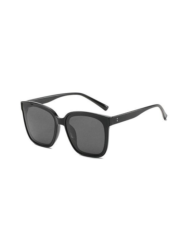 Retro Square Oversized Polarized Sunglasses - BLACK