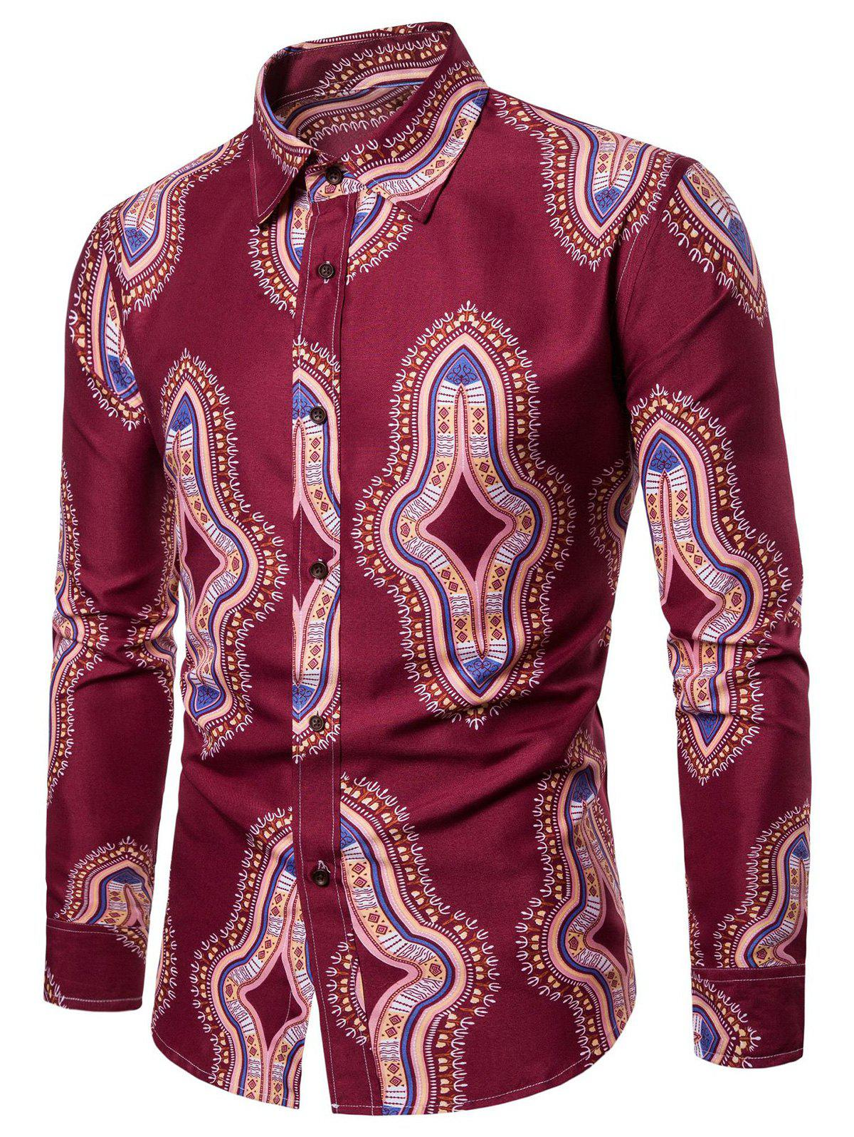 Long Sleeve Graphic Print Casual Shirt - CHERRY RED S
