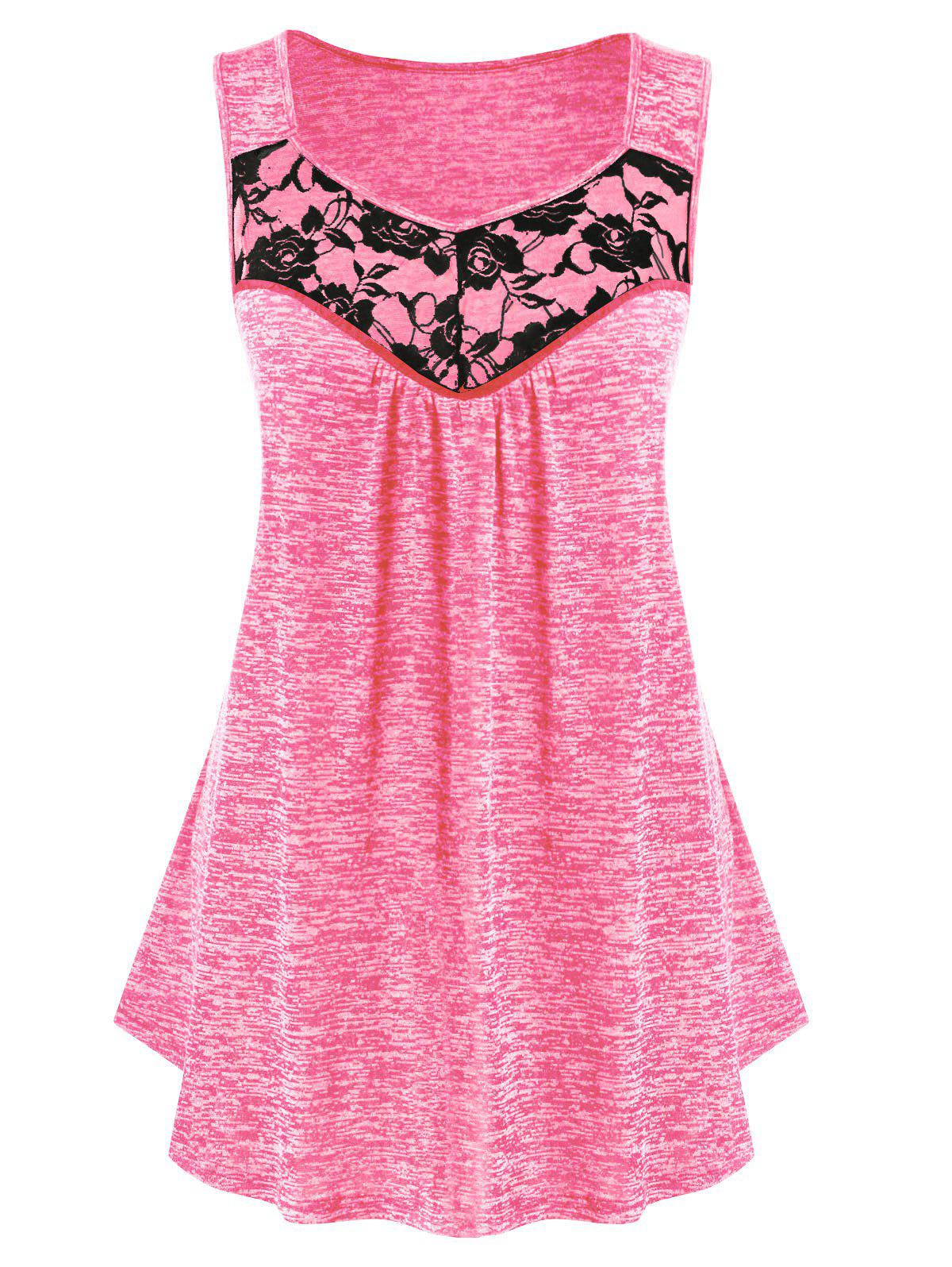 Plus Size Lace Insert Sweetheart Collar Marled Tank Top - HOT PINK 1X