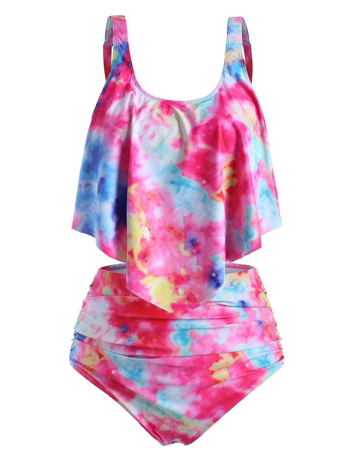 Plus Size Ruffled Tie Dye Ruched Tankini Swimsuit - multicolor I 3X