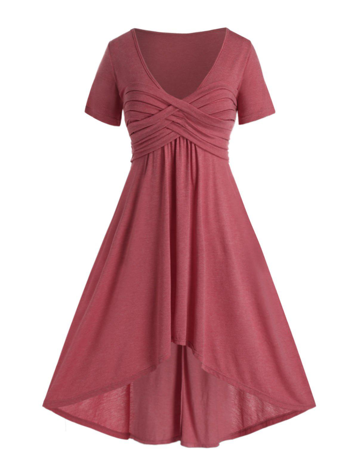 Plus Size Ruched Dip Hem Plunge Long Dress - VALENTINE RED 5X
