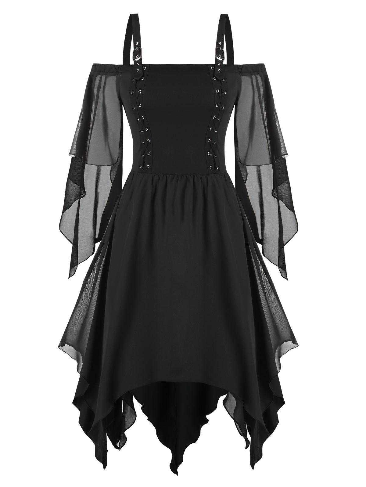 Cold Shoulder Lace-up Handkerchief Chiffon Dress - BLACK 2XL