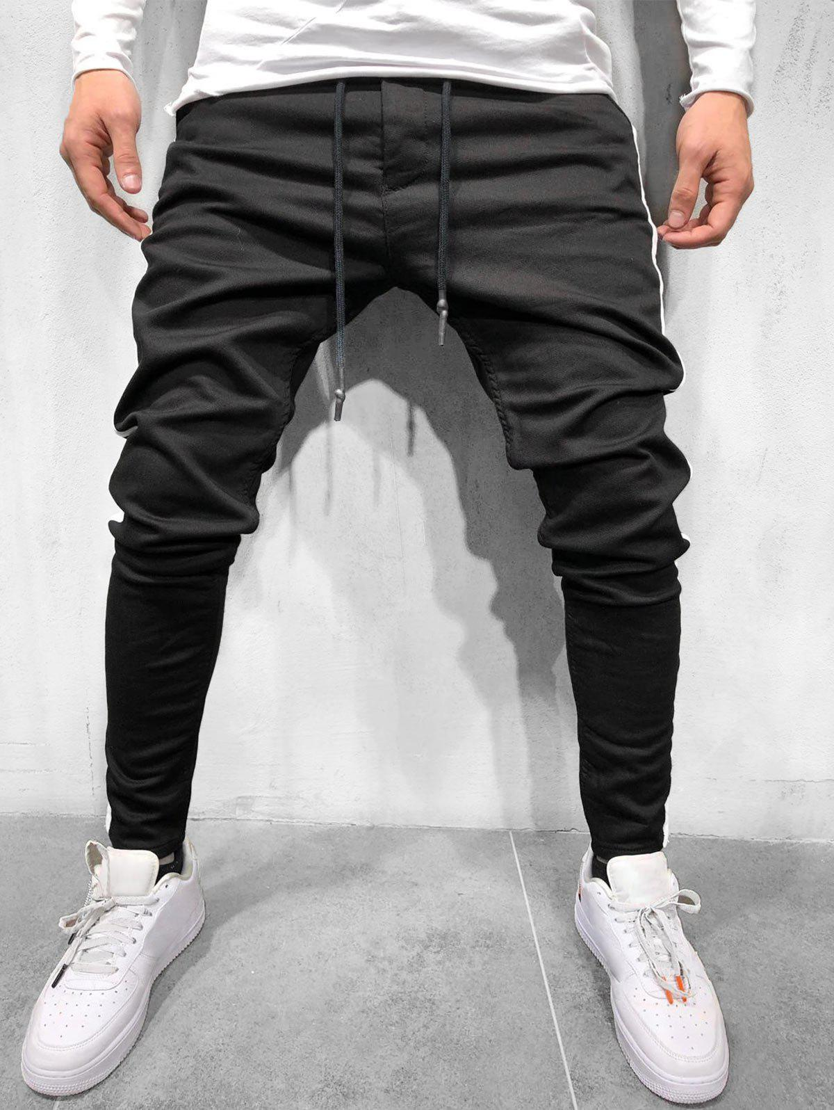 Color Spliced Design Drawstring Casual Pants - BLACK L