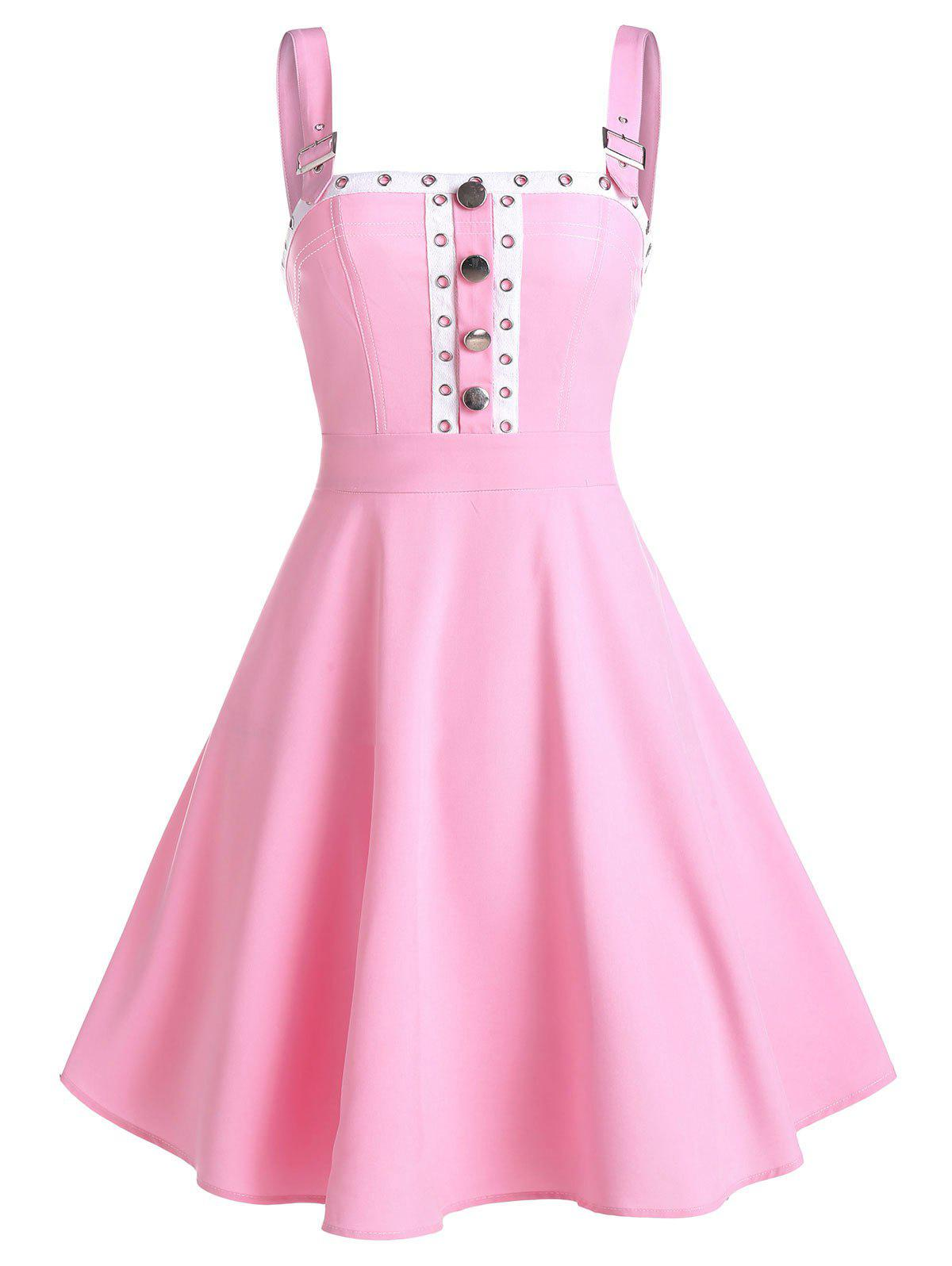 Buckle Strap Grommet Tape Flare Dress - PINK L