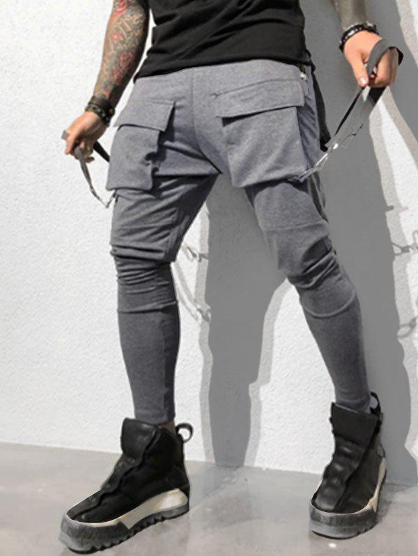 Solid Color Drawstring Cargo Pants - DARK GRAY M