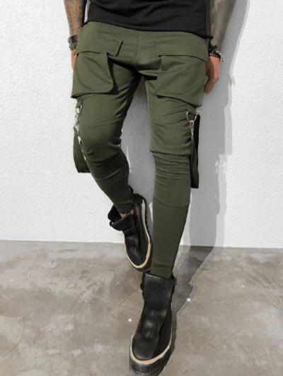 Solid Color Drawstring Cargo Pants - ARMY GREEN M