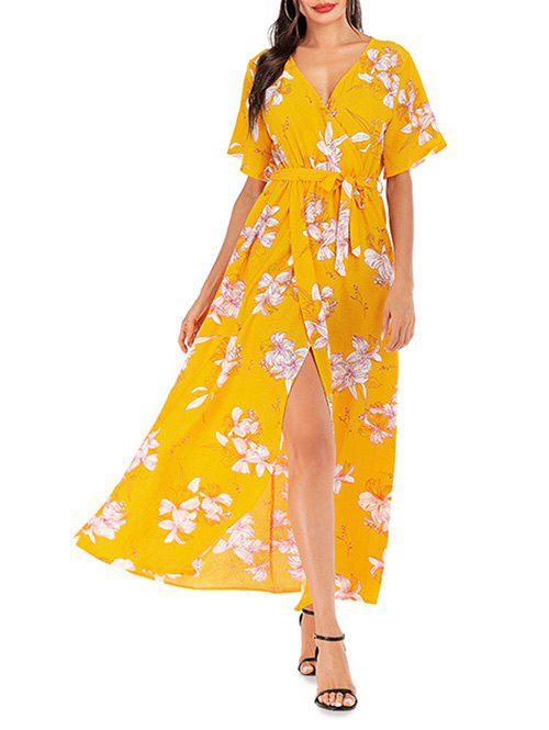 Overlap Belted Floral Surplice Maxi Dress - BRIGHT YELLOW XL