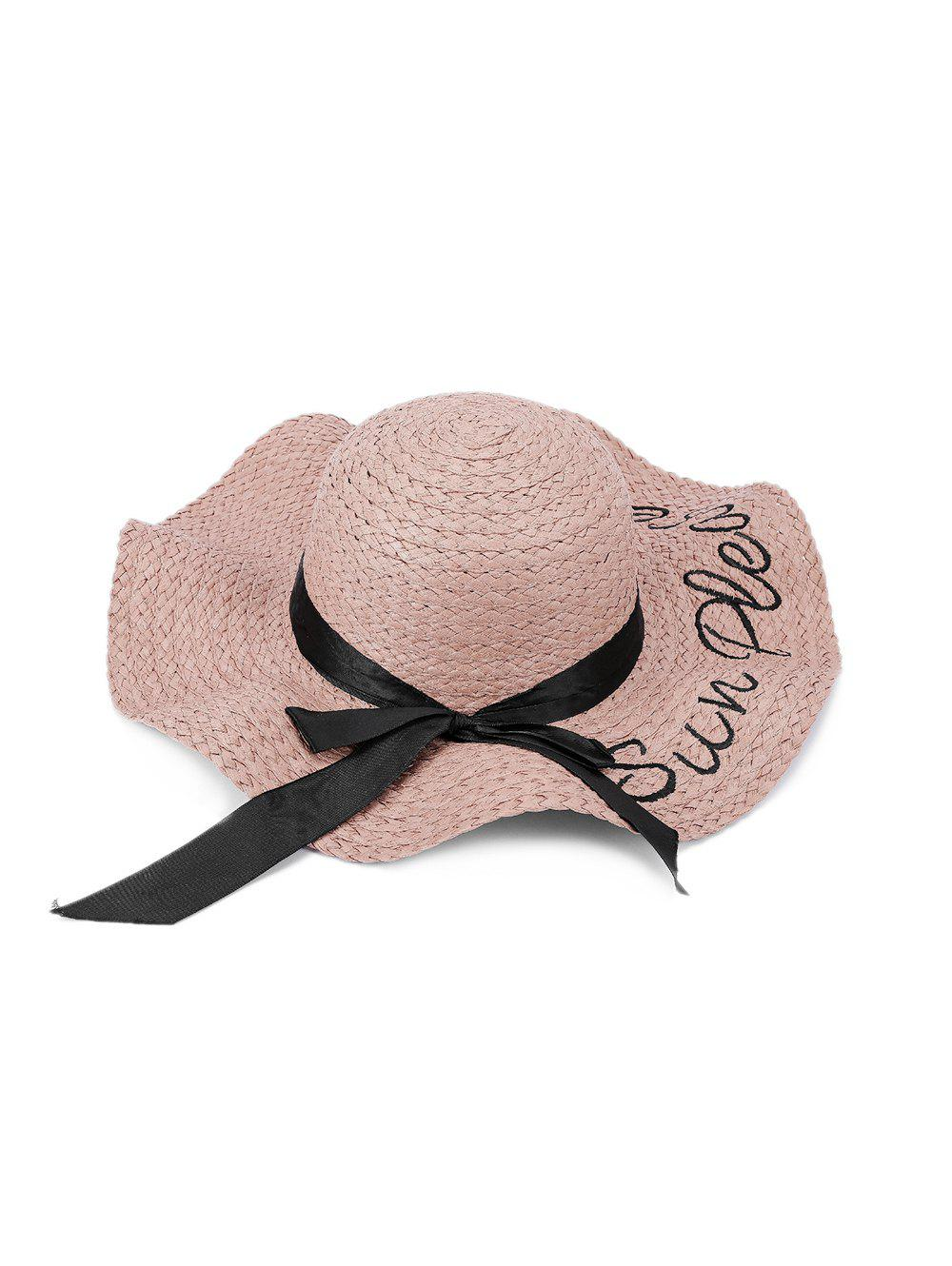 Bowknot Letter Decoration Straw Hat - ROSE