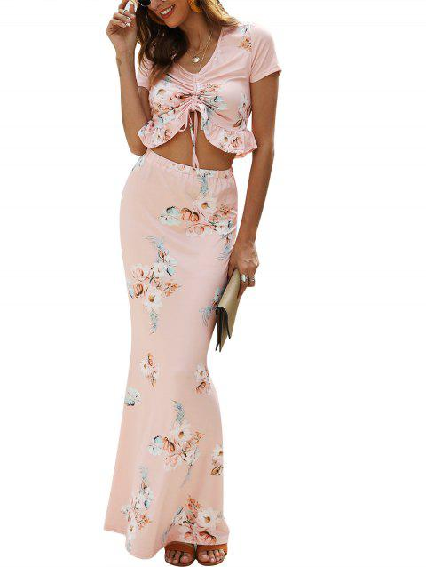 Ruffle Hem Cinched Crop Top and Maxi Skirt