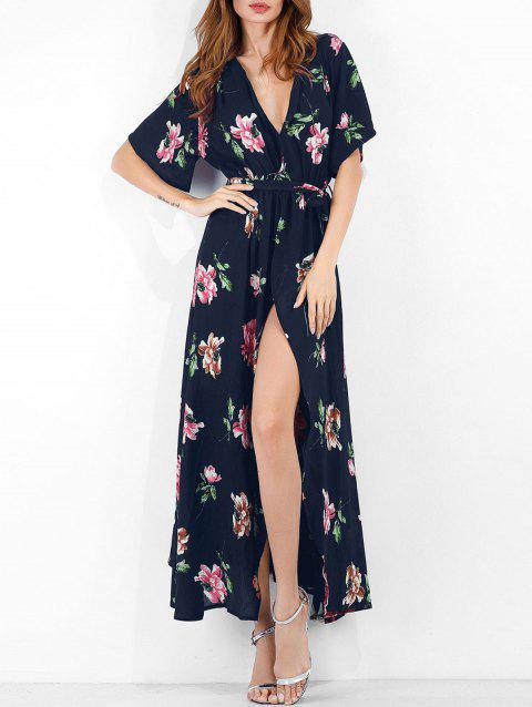 Flower Print Slit Belted Surplice Dress