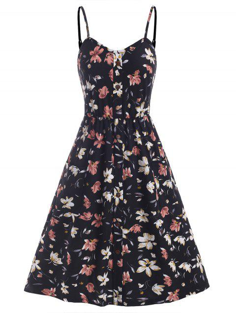 Flower Print Mock Button Pocket Smocked Back Dress