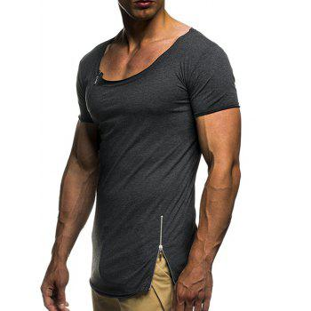 Solid Color Zip Decorated Short Sleeves T-shirt