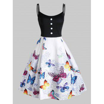 Floral Butterfly Print Mock Button High Waisted Dress