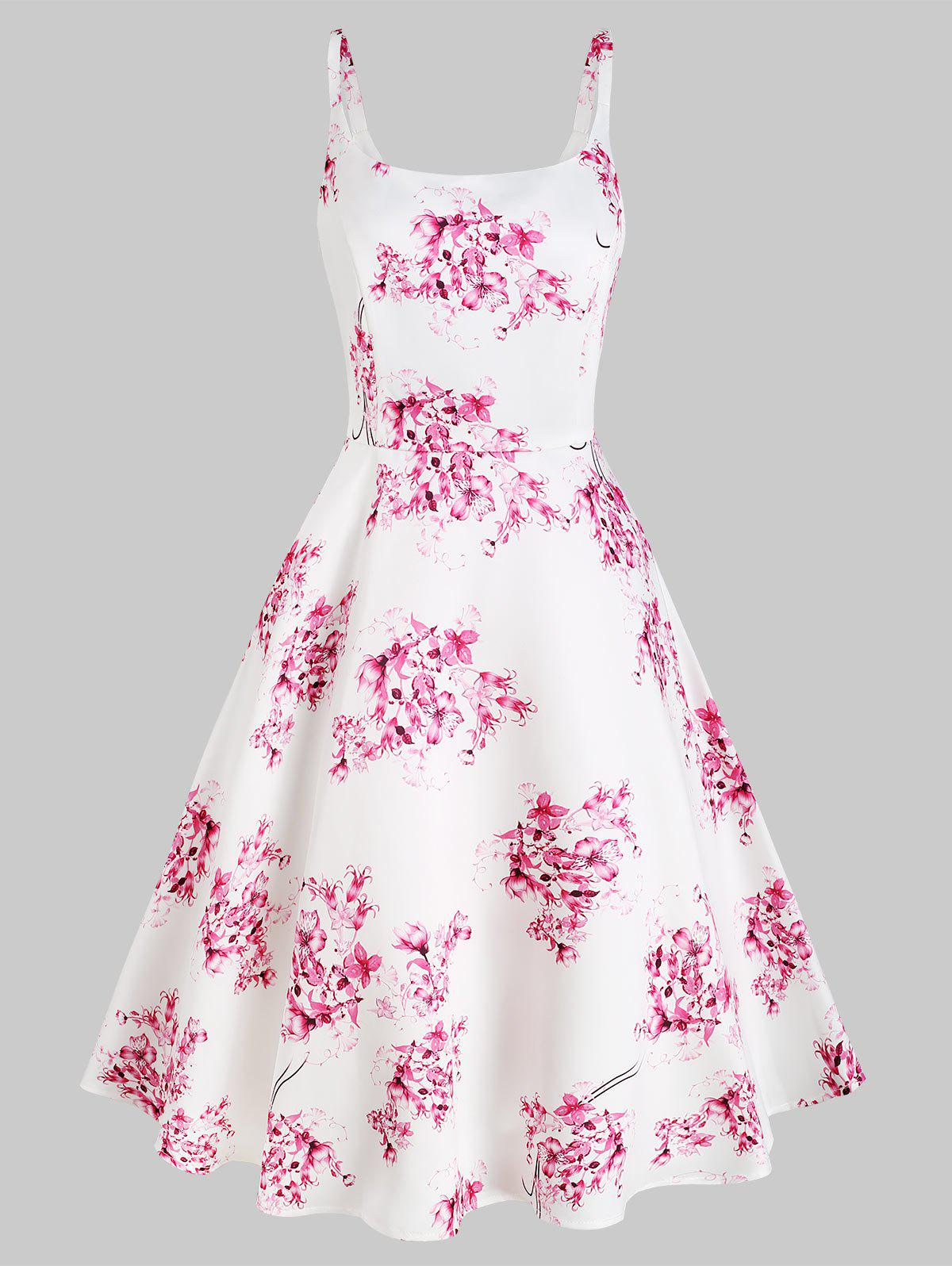 Flower Print Sleeveless Vacation Dress - WHITE S