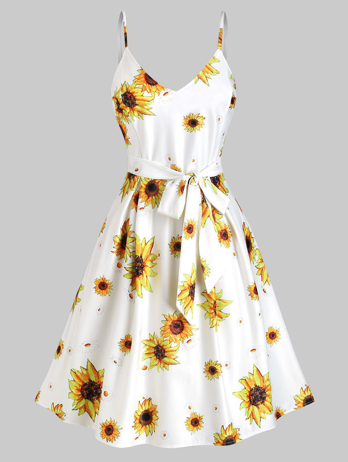Sunflower Print Belted Cami Vacation Dress - WHITE L