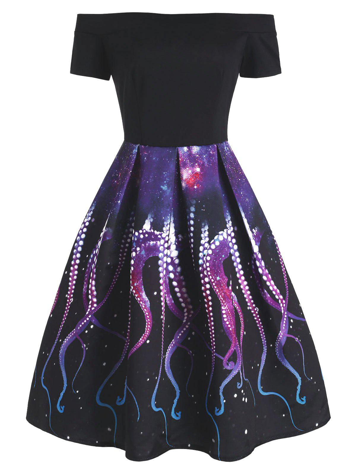 Octopus Galaxy Print Off Shoulder Party Dress - multicolor S