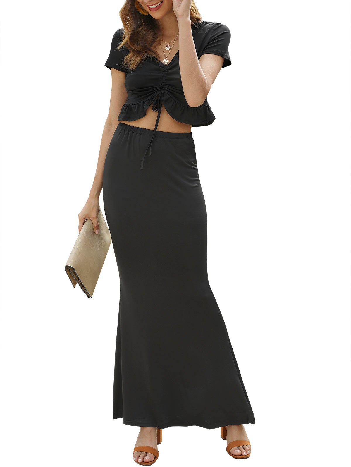 Ruffle Hem Cinched Crop Top and Maxi Skirt - BLACK XL