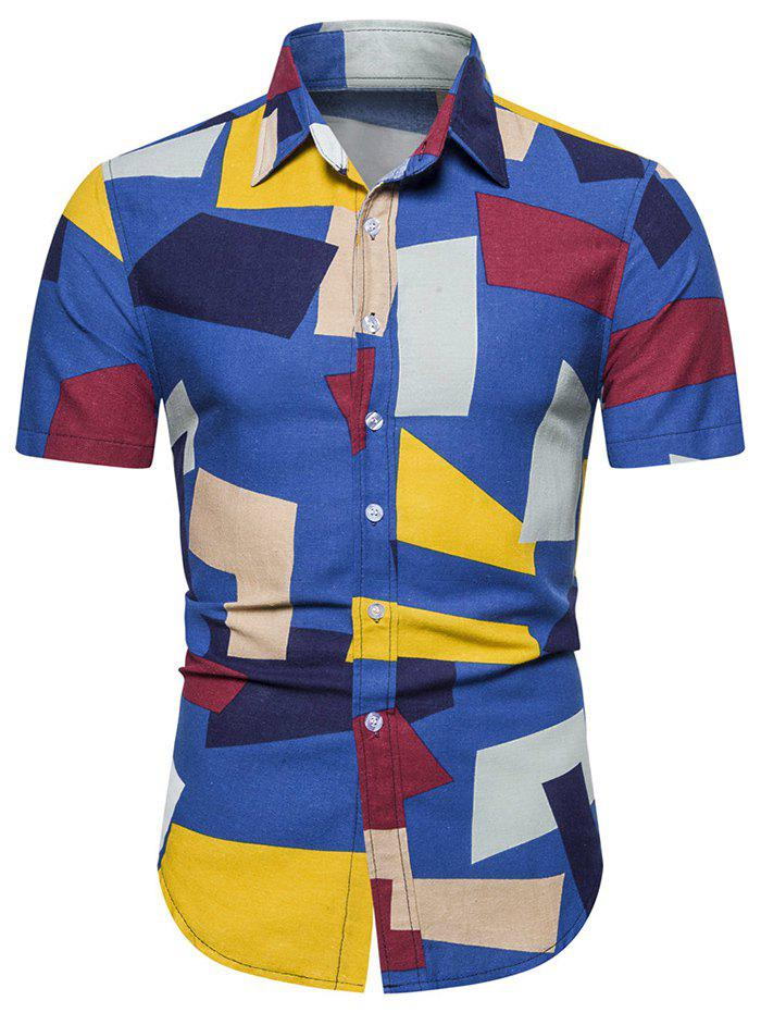 Colorblock Geometric Print Short Sleeve Shirt - BLUEBERRY BLUE XL