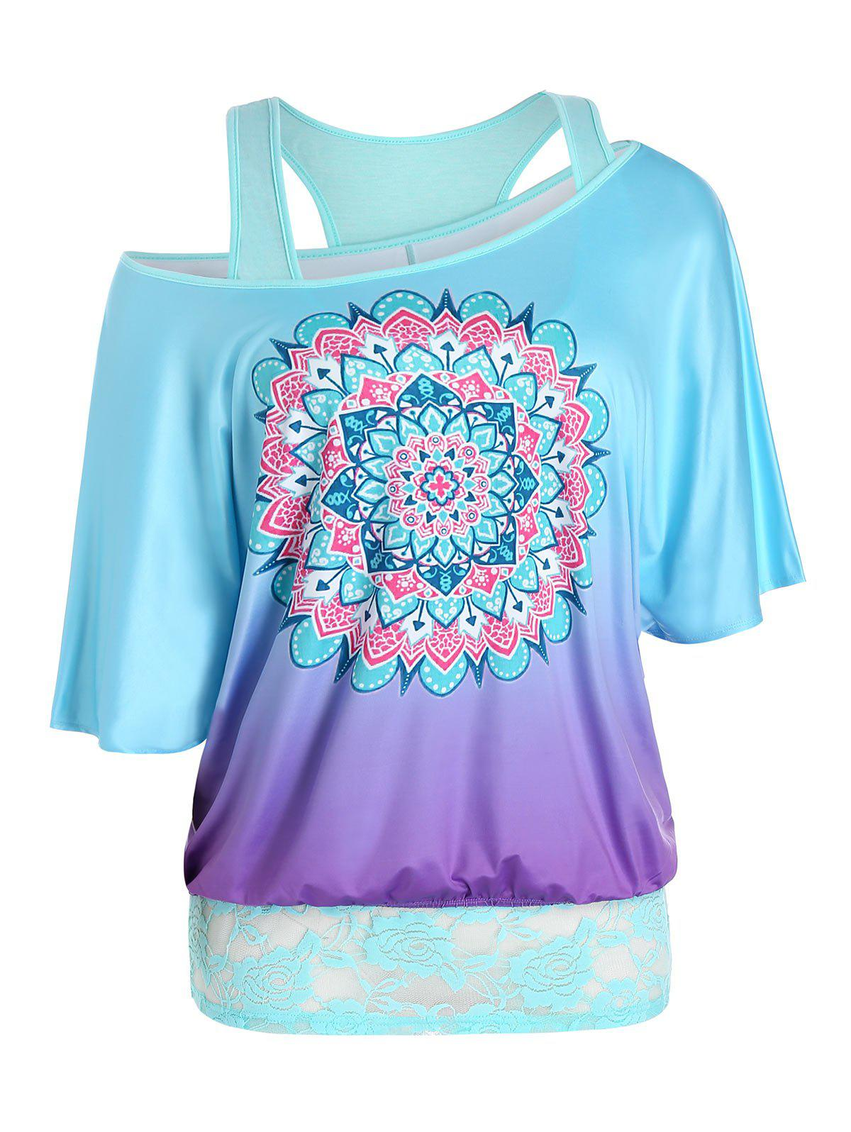 Plus Size Skew Neck Bohemian Print Ombre Tee and Tank Top Set - MEDIUM TURQUOISE 3X