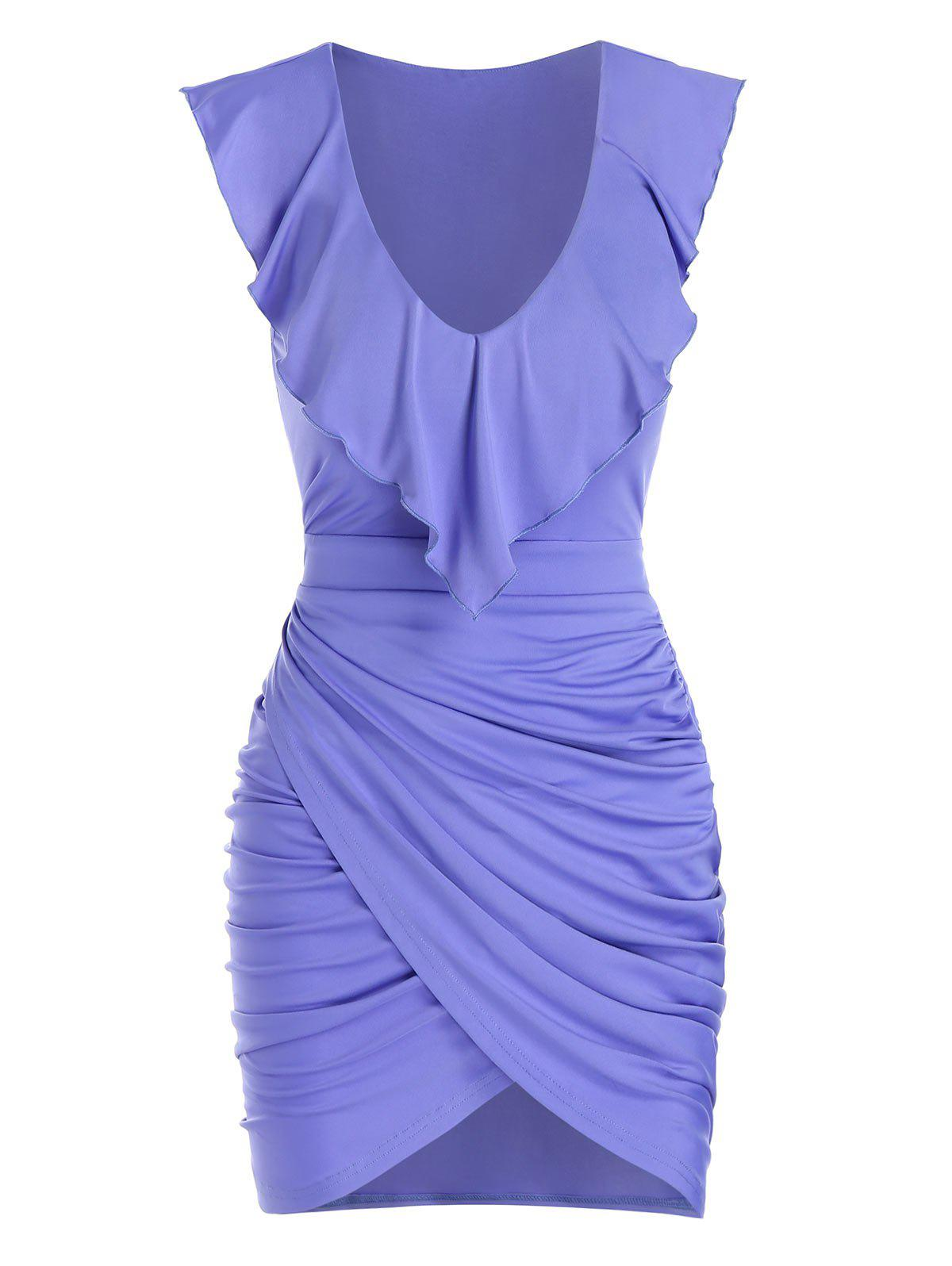 Sleeveless Ruched Tulip Sheath Dress - PURPLE L