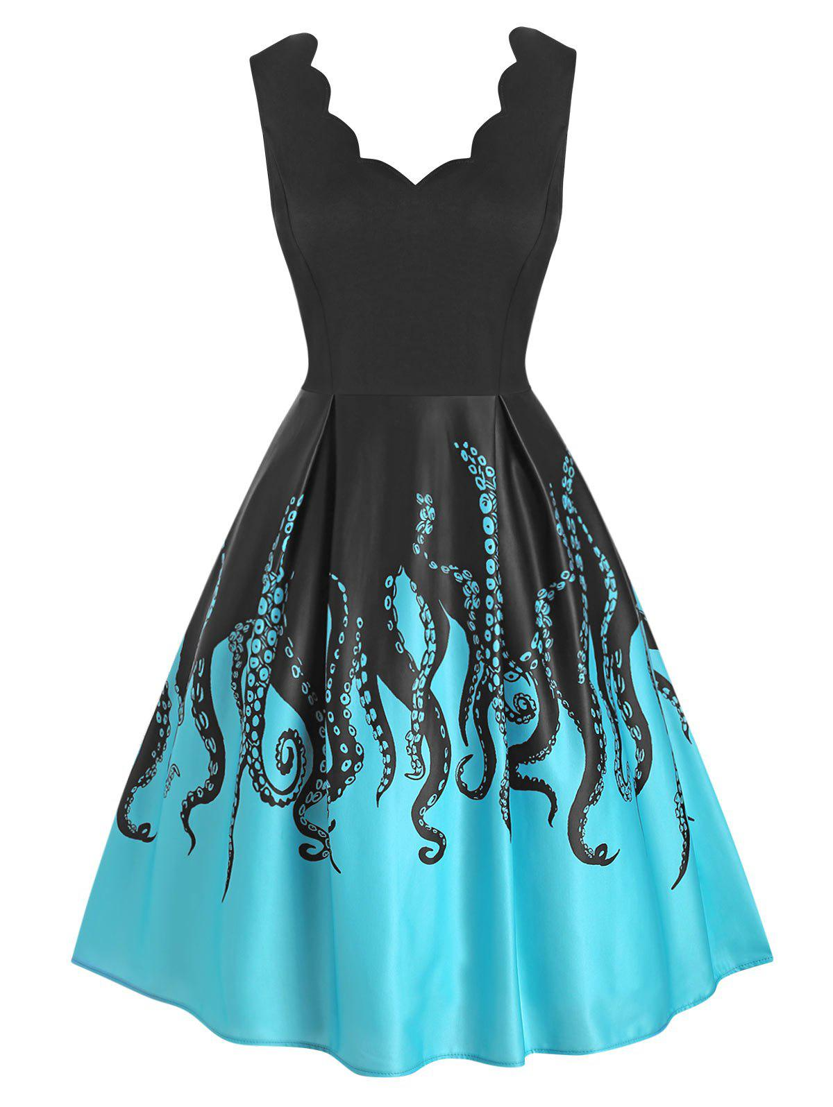 Octopus Print Scalloped V Neck Sleeveless Dress - MACAW BLUE GREEN 2XL
