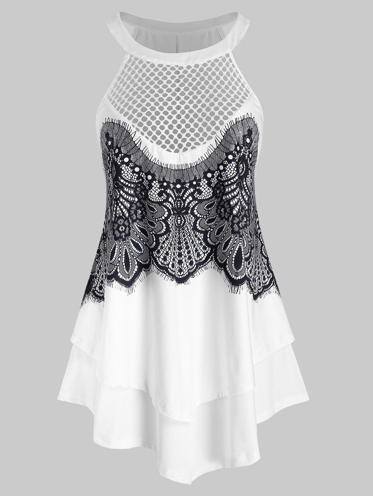 Plus Size Fishnet Lace Panel Tiered Tank Top - WHITE 4X