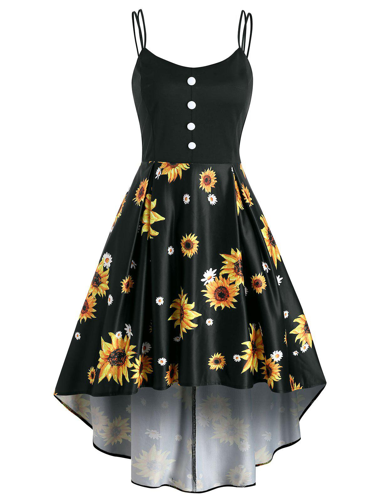 Mock Button Sunflower Print High Low Dress - MIRROR BLACK XL