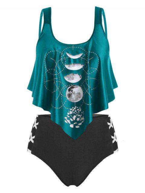 Plus Size Moon Phase Print Ruffled Tankini Swimwear