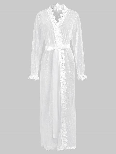 Mesh Sheer Crochet Trim Belted Long Lingerie Robe