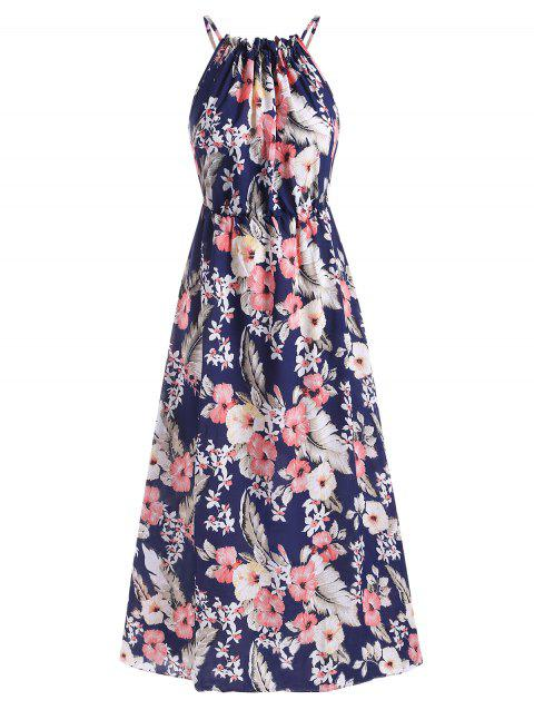 Flower Print Gathered Neck High Waisted Dress