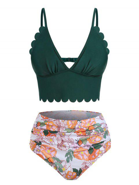 Low Cut Floral Print Scalloped Tankini Swimwear