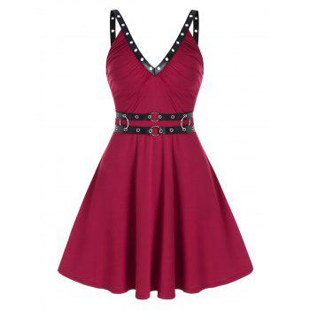 Sleeveless Grommet Faux Leather Strap Dress - RED WINE 3XL
