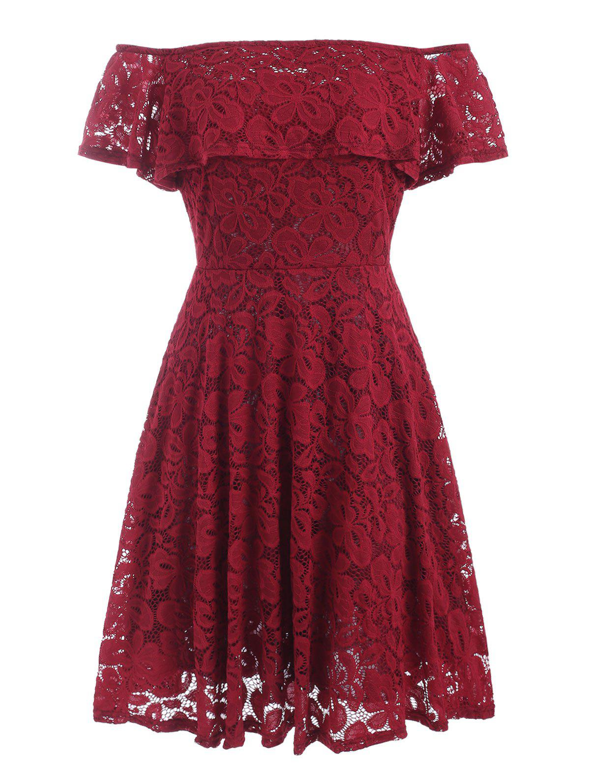 Off Shoulder Ruffles Lace Dress - RED WINE S