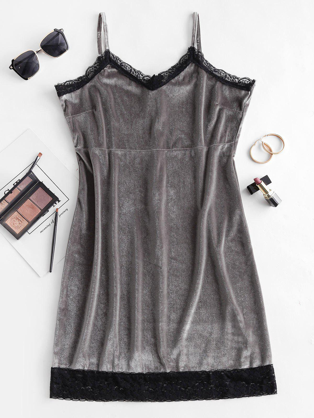 Lace Trim Velvet Bodycon Dress - GRAY L