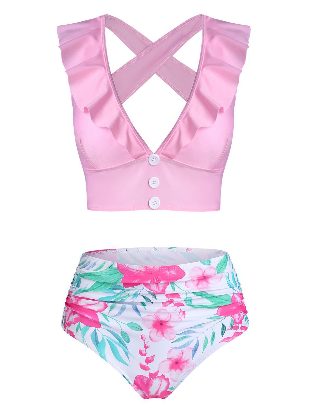 Floral Print Ruffled Cross Back Tankini Swimwear - PINK XL