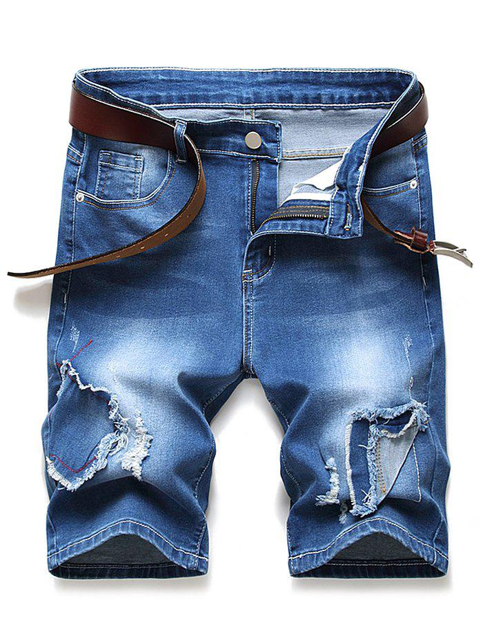 Patchworks Ripped Design Denim Shorts - DENIM DARK BLUE 34