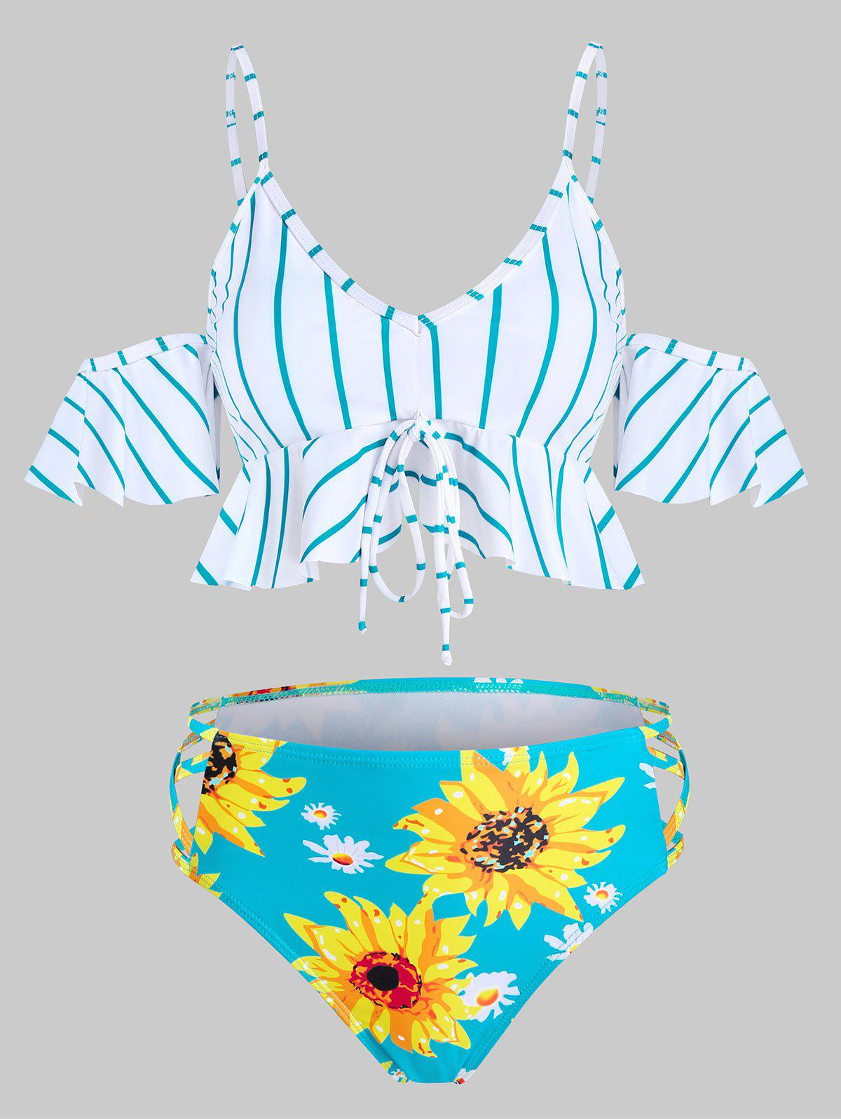 Floral Striped Cold Shoulder Padded Tankini Swimwear - DARK TURQUOISE XL