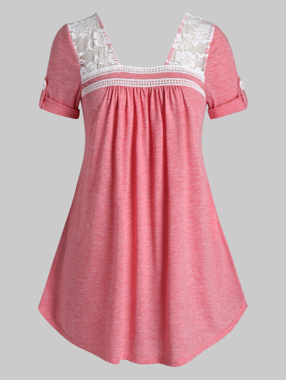 Plus Size Lace Insert Roll Up Sleeve T Shirt - LIGHT CORAL 4X