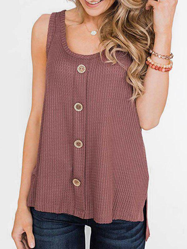 High Low Slit Buttoned Textured Tank Top - ROSY FINCH 2XL
