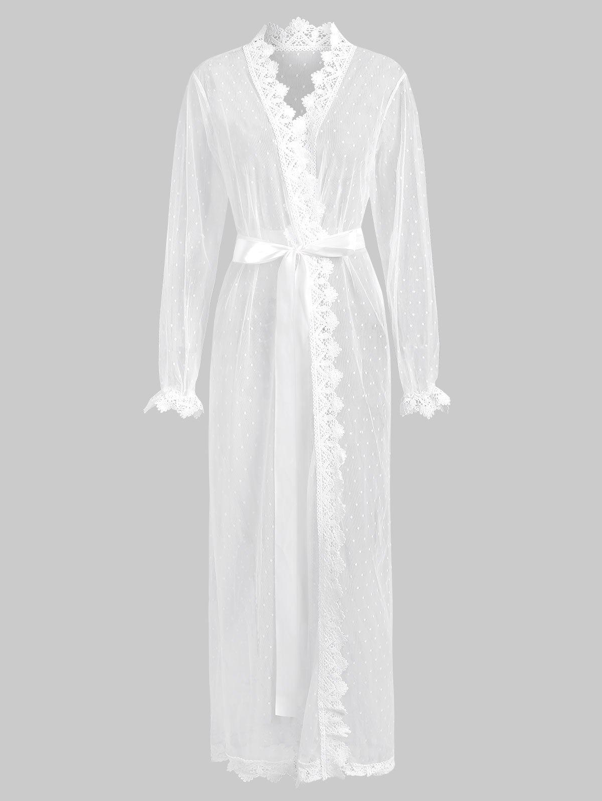 Mesh Sheer Crochet Trim Belted Long Lingerie Robe - MILK WHITE L