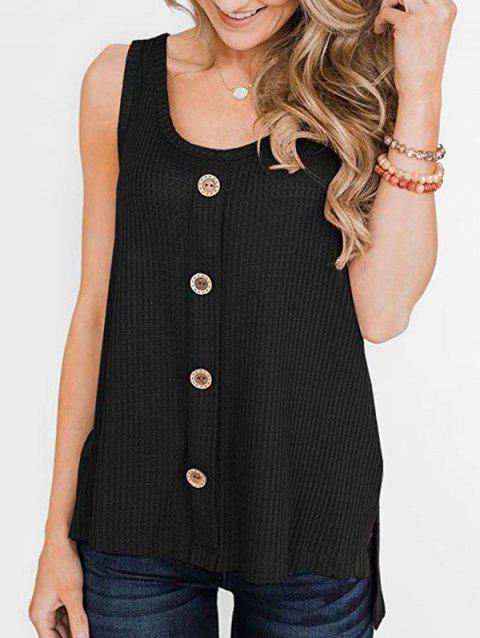 High Low Slit Buttoned Textured Tank Top