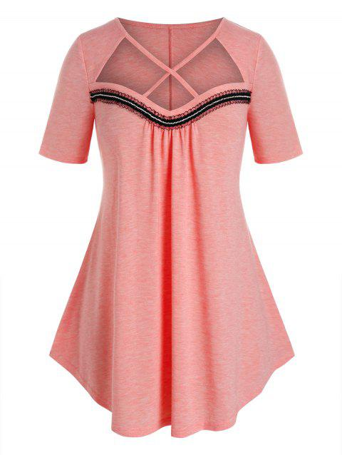 Plus Size Frilled Detail Cross Cutout Curved Tee