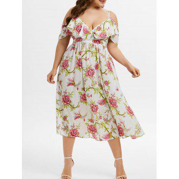 Plus Size Open Shoulder Ruffled Floral Print Dress