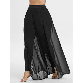 Plus Size Chiffon Overlap Wide Leg Pants