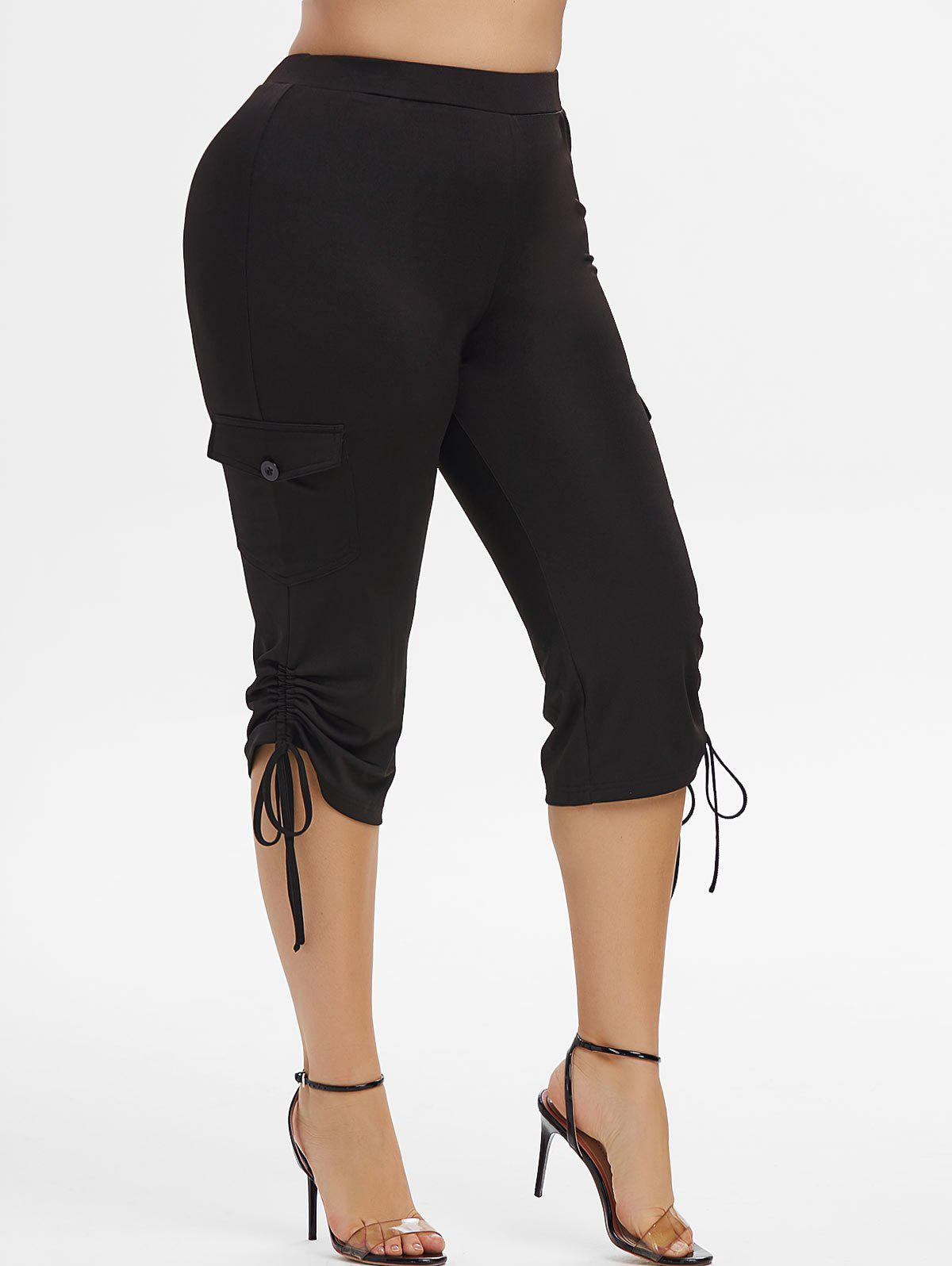Plus Size Side Pockets Cinched Cropped Pants - BLACK 5X