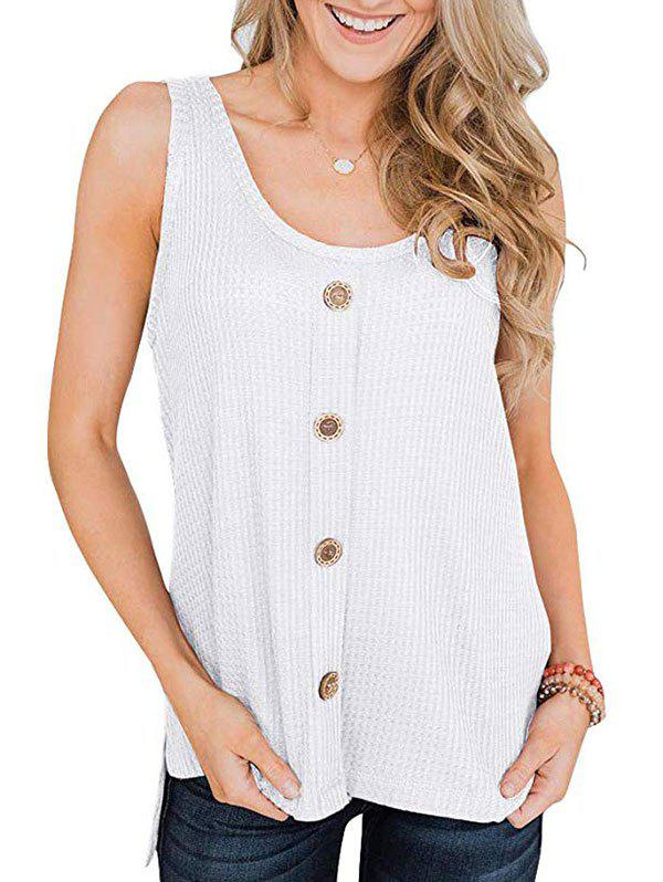 High Low Slit Buttoned Textured Tank Top - WHITE L