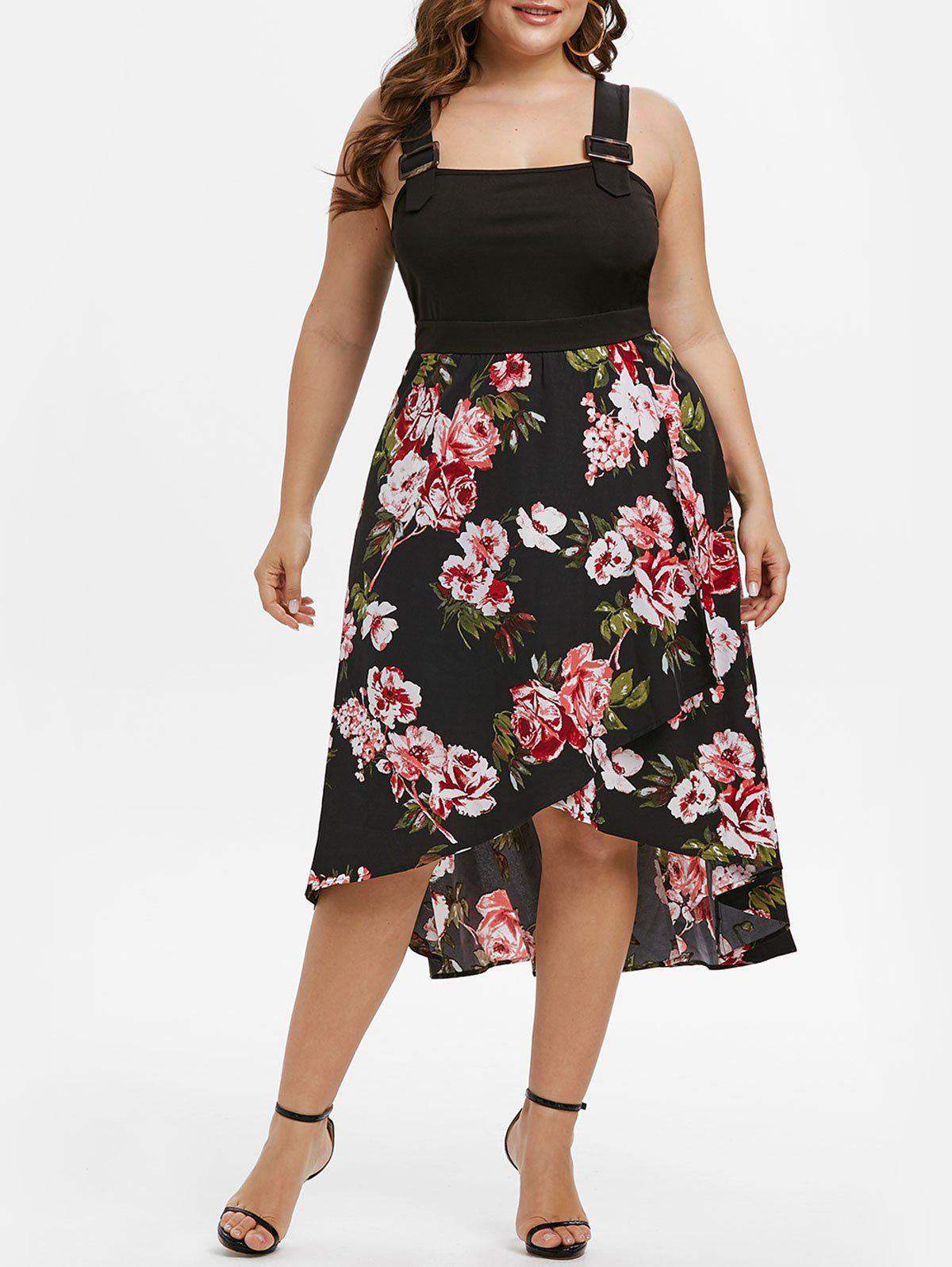 Plus Size Buckles Floral Print High Low Dress - BLACK L