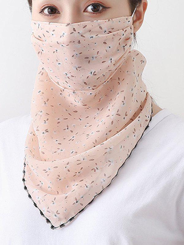 Outdoor Ditsy Print Chiffon Mask Scarf - ORANGE PINK