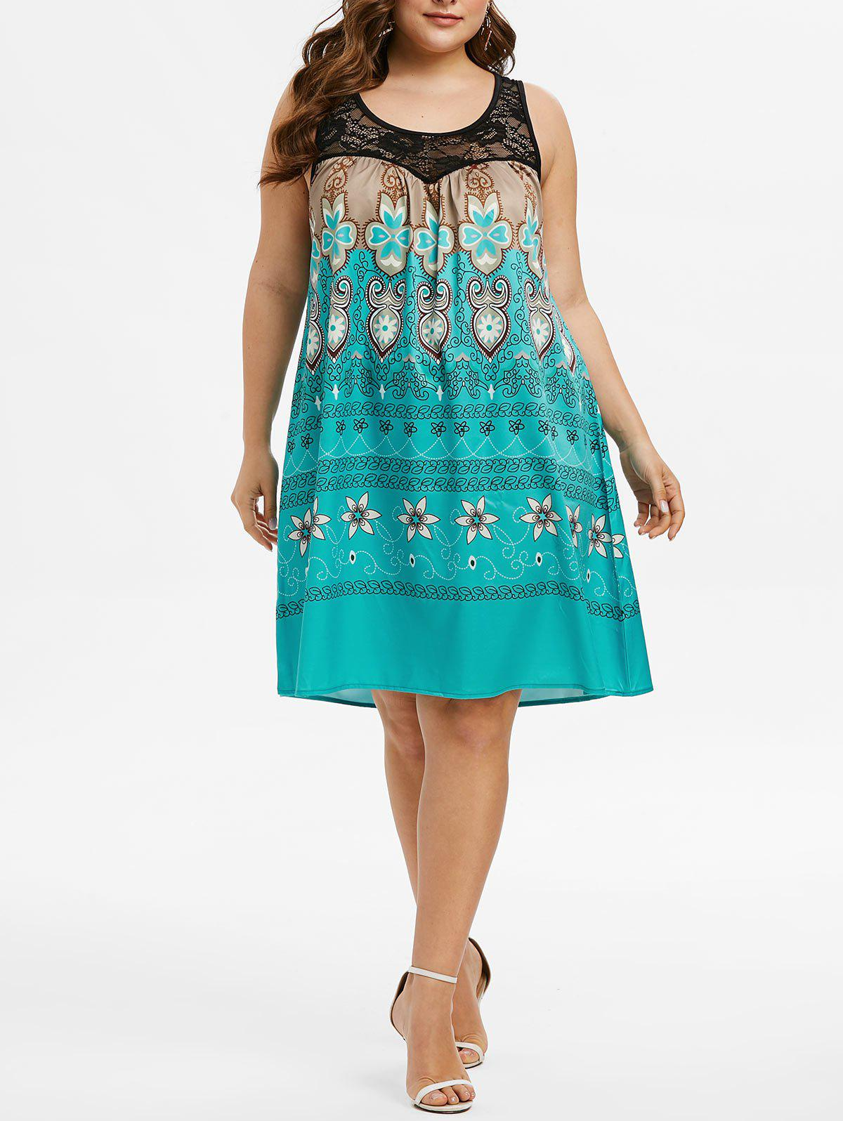 Plus Size Lace Insert Tribal Print Dress - DARK TURQUOISE L