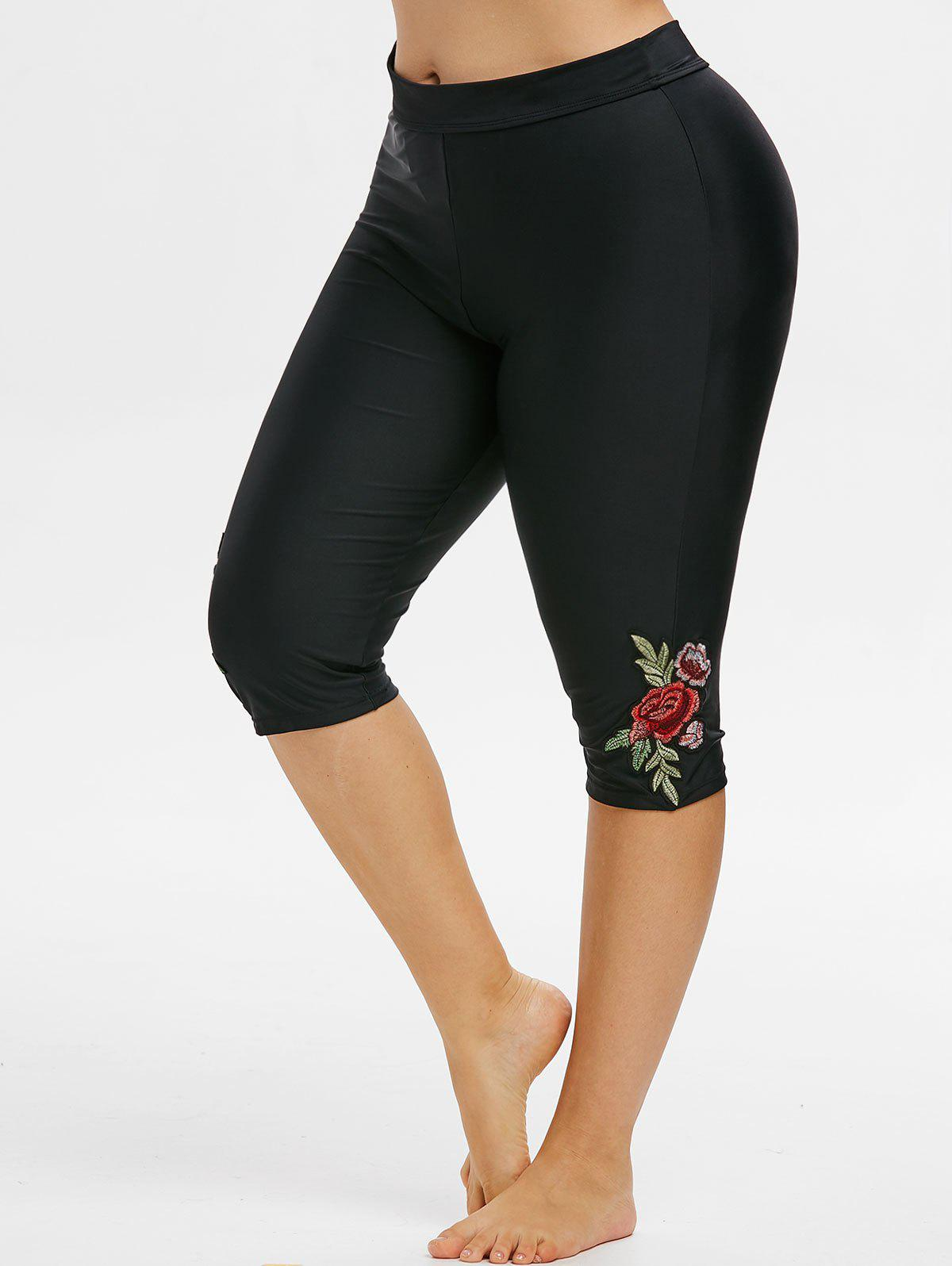 Floral Embroidered High Waisted Plus Size Swim Bottom - BLACK 4X
